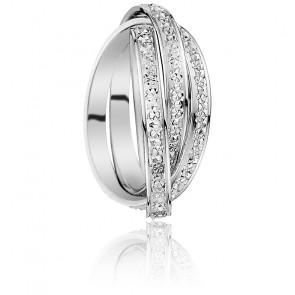 Alliance triple diamantée, Or blanc 9K
