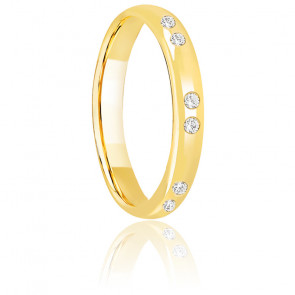 Alliance Demi Jonc Or Jaune et Diamants