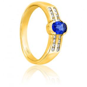 Bague or jaune 18K saphir ceylan & diamants