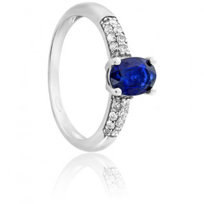 Bague or blanc 18K saphir & diamants 0,18ct