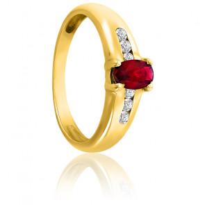 Bague or jaune 18K rubis & diamants