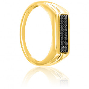 Chevalière or jaune 18K & diamants noirs