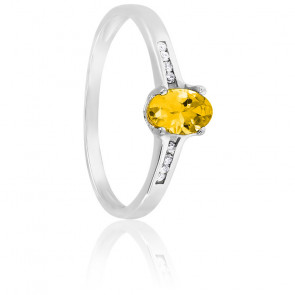 Bague or blanc 18K citrine & diamants