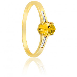 Bague or jaune 18K citrine & diamants