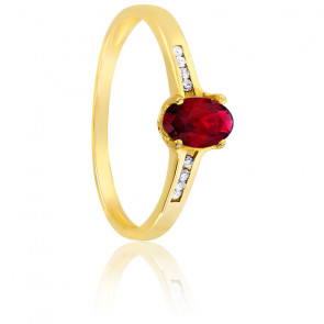 Bague or jaune 18K rubis & diamants