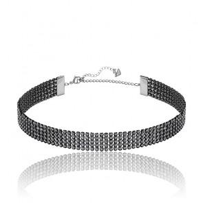 Collier ras-de-cou fit noir métal & cristaux