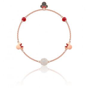 Bracelet Minnie multicolore & métal doré rose