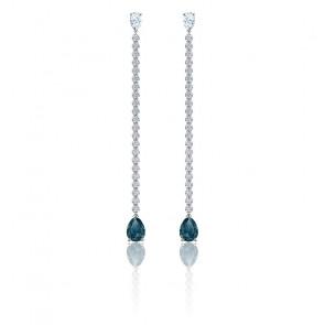 Boucles d'oreilles vintage bleu & métal rhodié