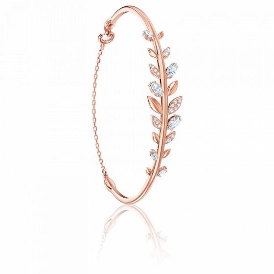 Bracelet jonc mayfly blanc & métal doré rose
