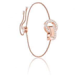 Bracelet hollow blanc & métal doré rose