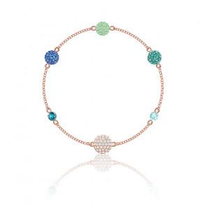 Bracelet pop strand vert & métal doré rose