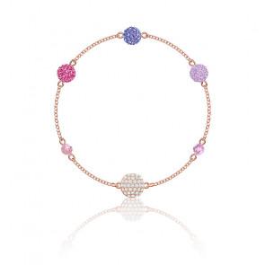 Bracelet pop strand violet & métal doré rose