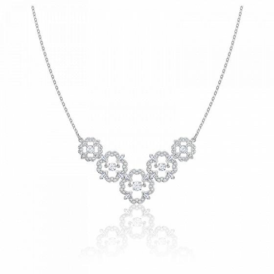Collier sparkling dance flower blanc & métal rhodié