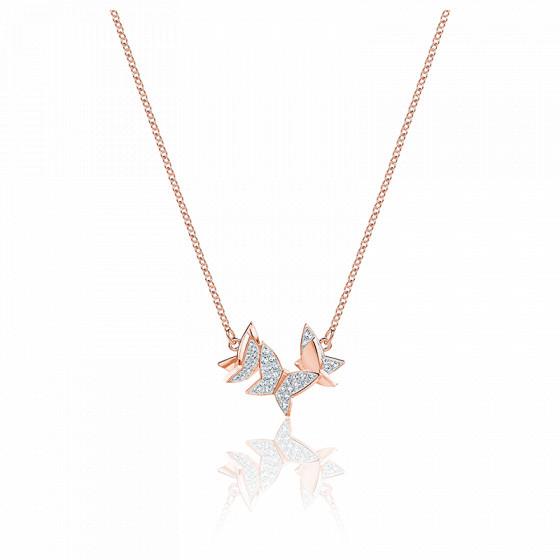 Collier Lilia blanc & métal doré rose