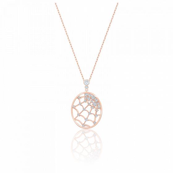 Collier precisely blanc & métal doré rose