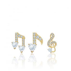 Parure boucles d'oreilles Pleasant blanc & métal doré