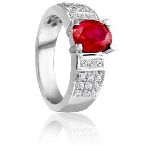 Bague Charlie diamants et rubis 1,30 ct, or blanc 18K