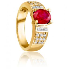 Bague Charlie diamants et rubis 1,30 ct, or jaune 18K