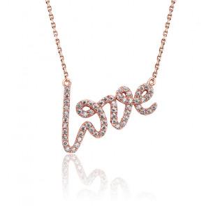Collier Love zircons plaqué or rose