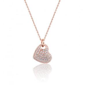 Collier cœur zircons plaqué or rose