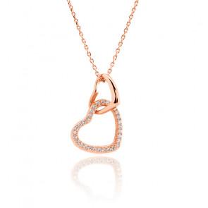 Collier cœurs entrelacés plaqué or rose