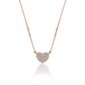 Collier cœur en zircons plaqué or rose