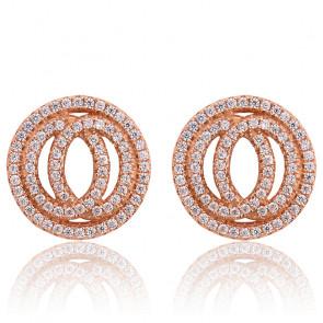 Boucles d'oreilles cercles Infinity doré rose