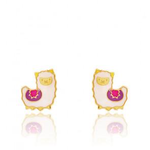 Boucles d'oreilles lama or jaune 9k