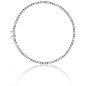 Bracelet Rivière diamants 3ct GSI, or blanc 18K