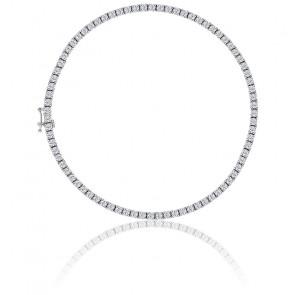 Bracelet Rivière diamants 4ct GSI, or blanc 18K