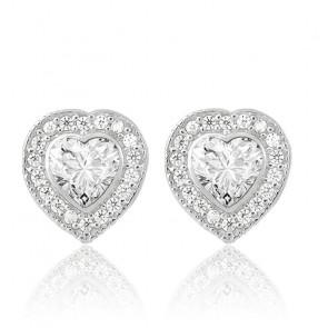 Boucles d'oreilles coeur argent zircons