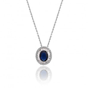 Collier zircon bleu ovale argent