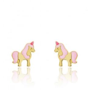 Boucles d'oreilles licorne or jaune 18K
