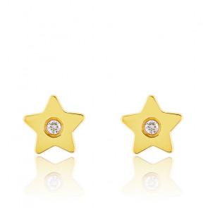 Boucles d'oreilles étoile or jaune 9K