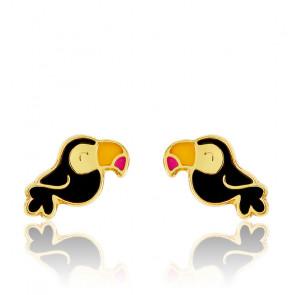 Boucles d'oreilles toucan or jaune 9K
