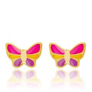 Boucles d'oreilles papillon or jaune 9K