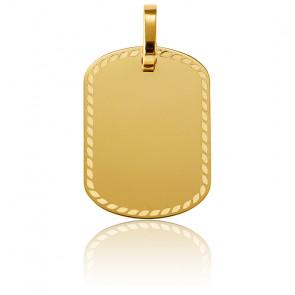 Pendentif à graver plaque décorée or jaune 18K