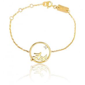 Bracelet prénom personnalisé 18 mm or jaune 9K