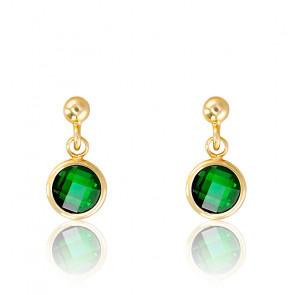 Boucles d'oreilles argent doré & vert émeraude serti clos