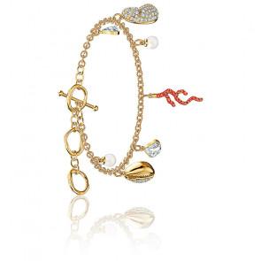 Bracelet shell coral, rouge, métal doré
