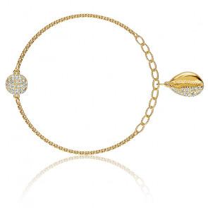 Bracelet strand swarovski remix collection shell, blanc, métal doré