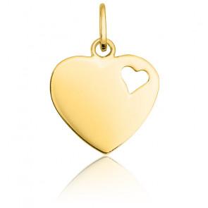 Pendentif coeur ajouré or blanc 9K ou 18K