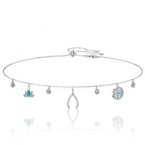 Collier swarovski symbolic charm, multicolore clair, métal rhodié