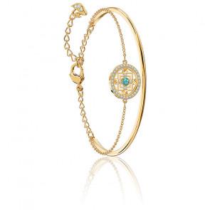 Bracelet-jonc swarovski symbolic mandala, vert, métal doré