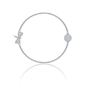 Bracelet strand remix Dragonfly blanc & métal rhodié