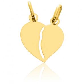 Pendentif coeur séparable, or jaune 9K ou 18K