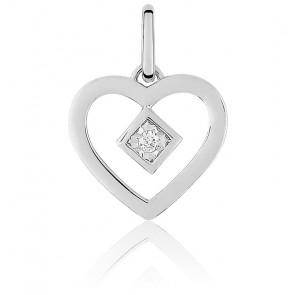 Pendentif coeur ajouré et diamant serti, or blanc 18K