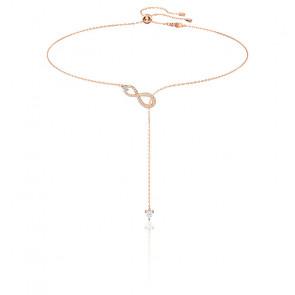 Collier Y infinity blanc & métal doré rose
