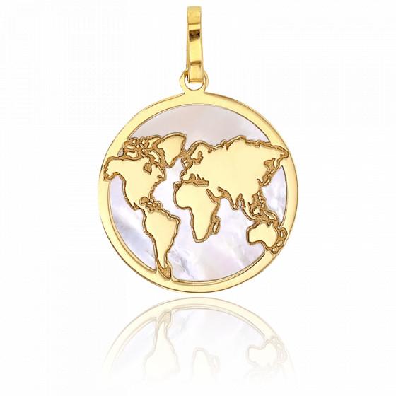 Médaille carte du monde nacre et or jaune 18K