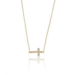Collier croix or jaune 9K & zircons